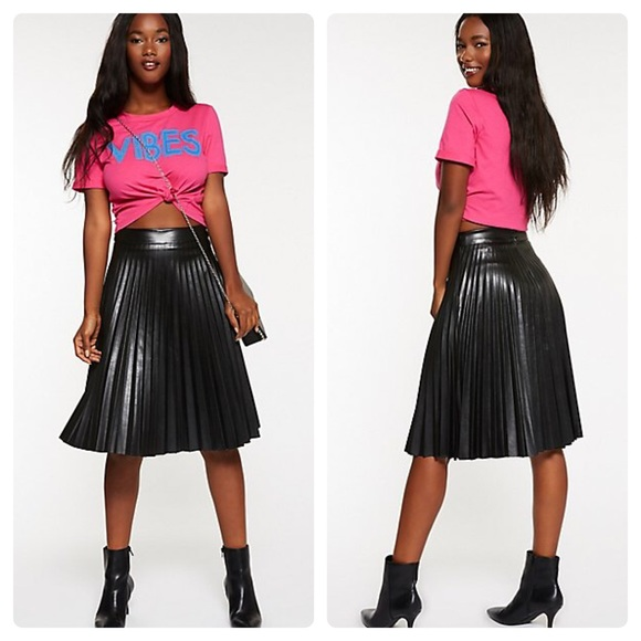 a291731f18f Faux Leather Pleated Midi Skirt Size Large NWT